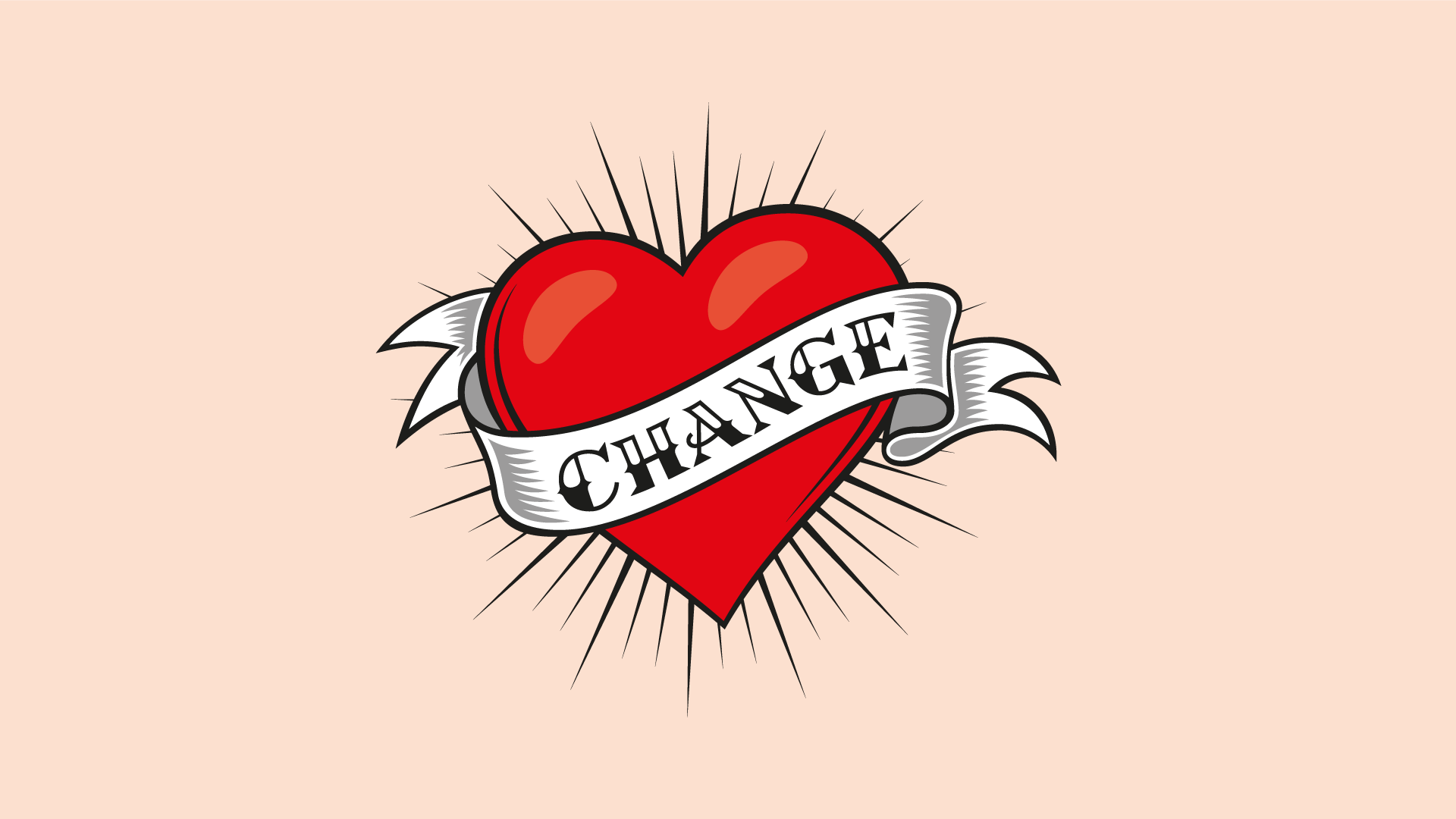 "Heart tattoo with ""Change"" band as a key visual on the ORANGE COUNCIL homepage."