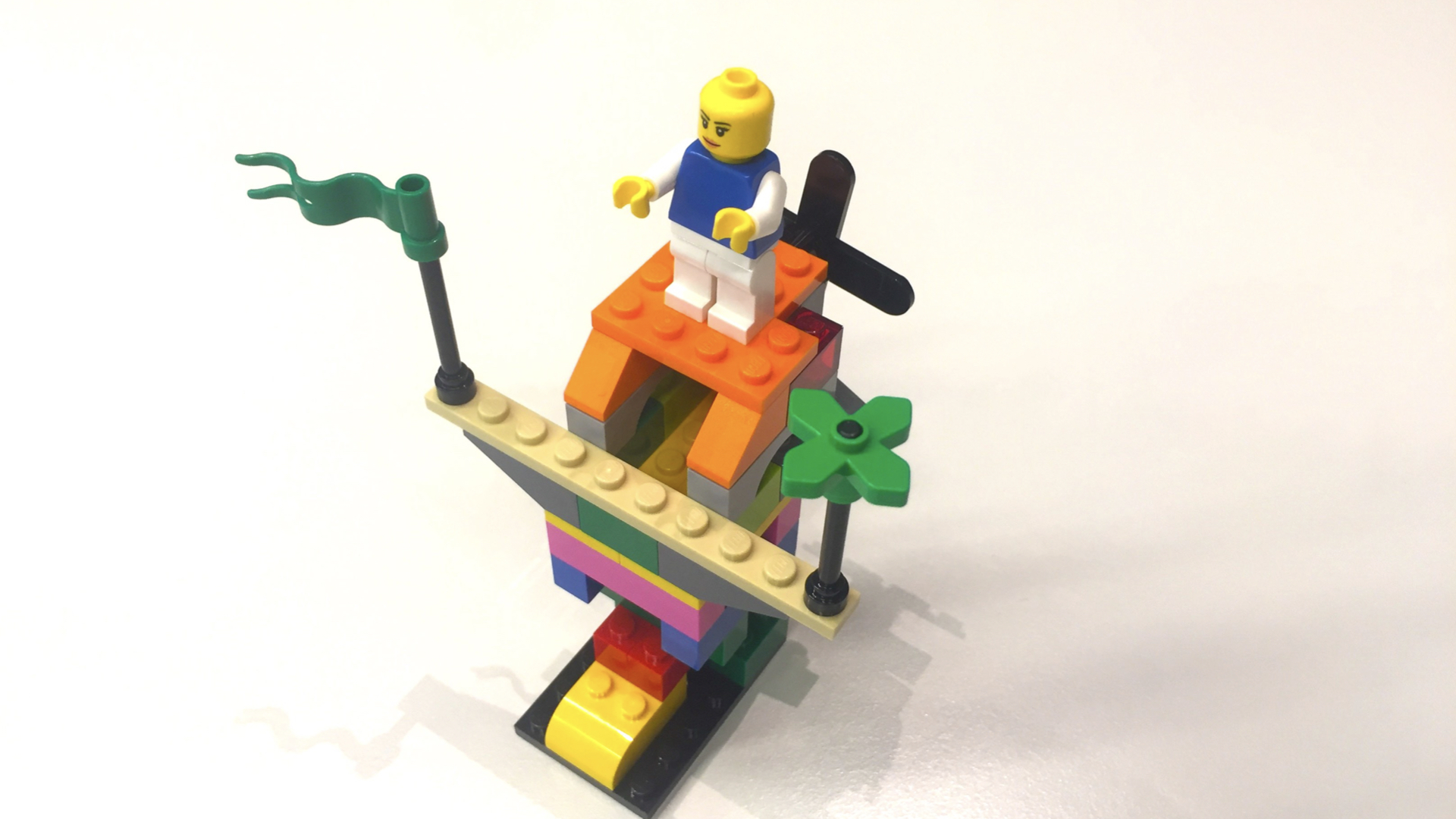A Lego figure operates a colourful fantasy vehicle. Orange Council also develops strategies through playful evaluation.