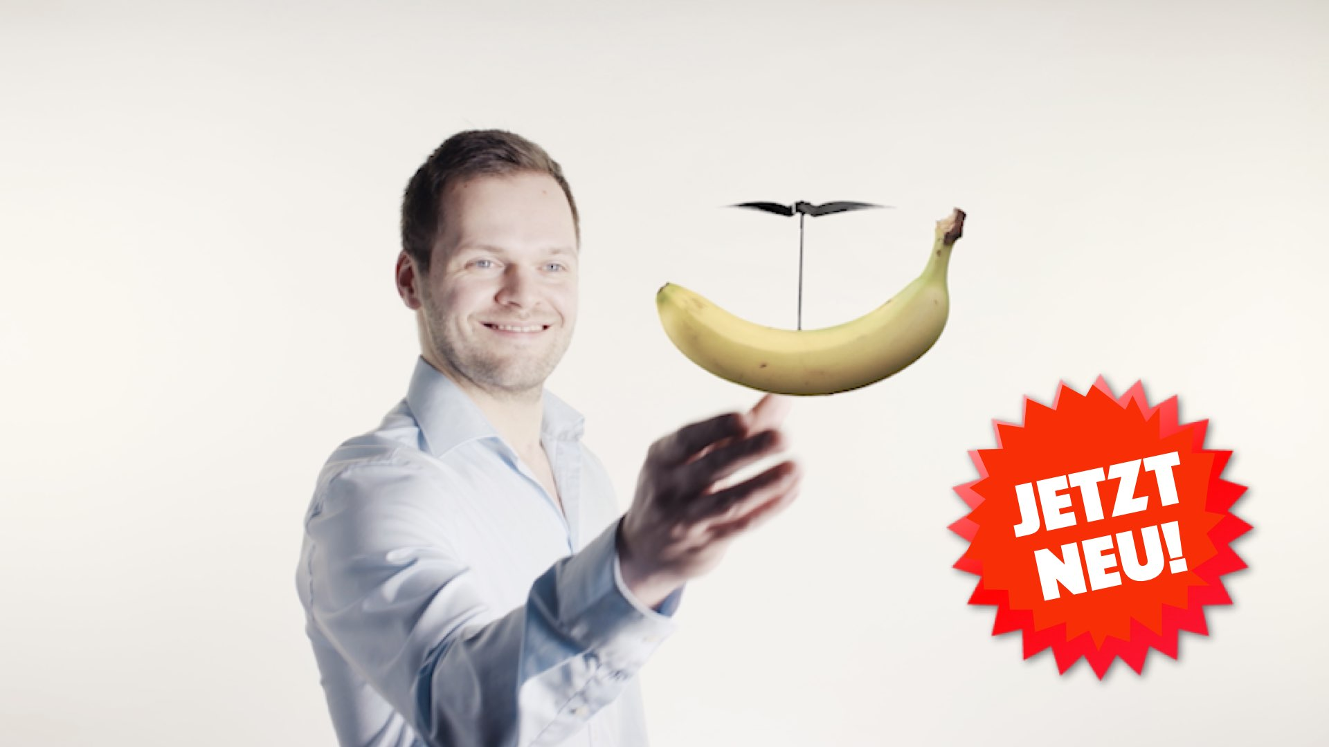 Orange Council - A laughing employee lets a banana hover using a helicopter rotor. Campaign theme for Bosch Grow.
