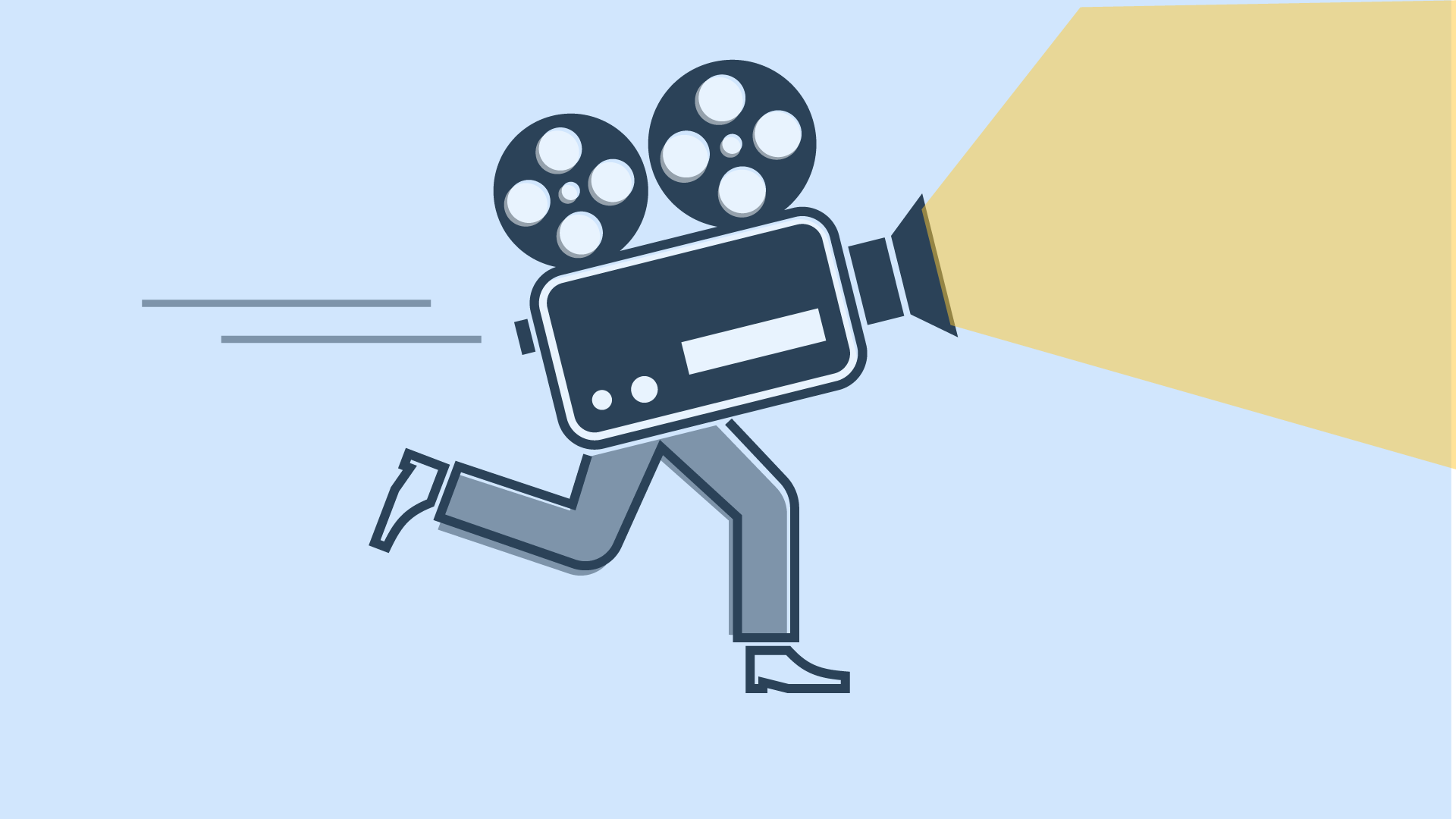 A film projector runs - on two human legs. Icon for ORANGE MOVING MOVIES, our moving image formats.