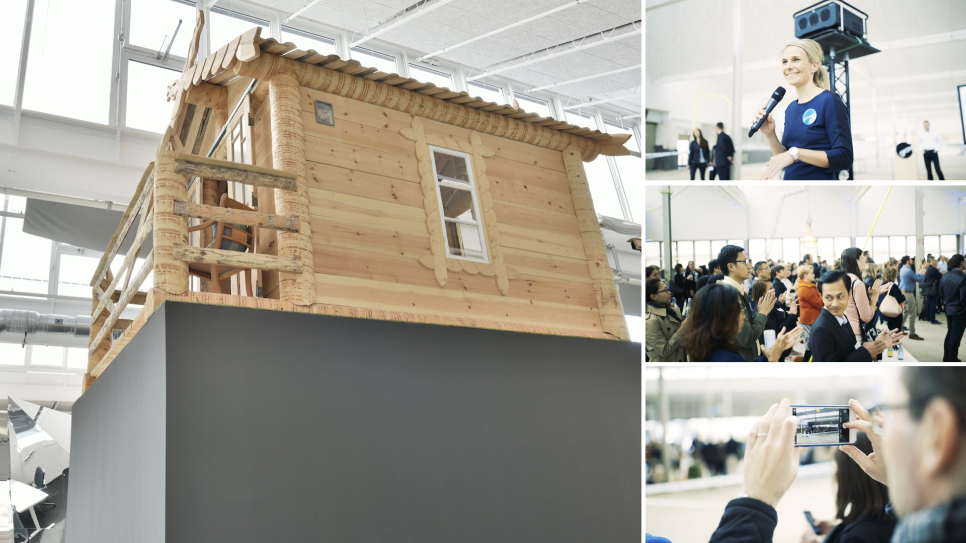 Orange Council - log cabin as a co-working space and simultaneously a symbol of the pioneering spirit of the Robert Bosch GROW platform.