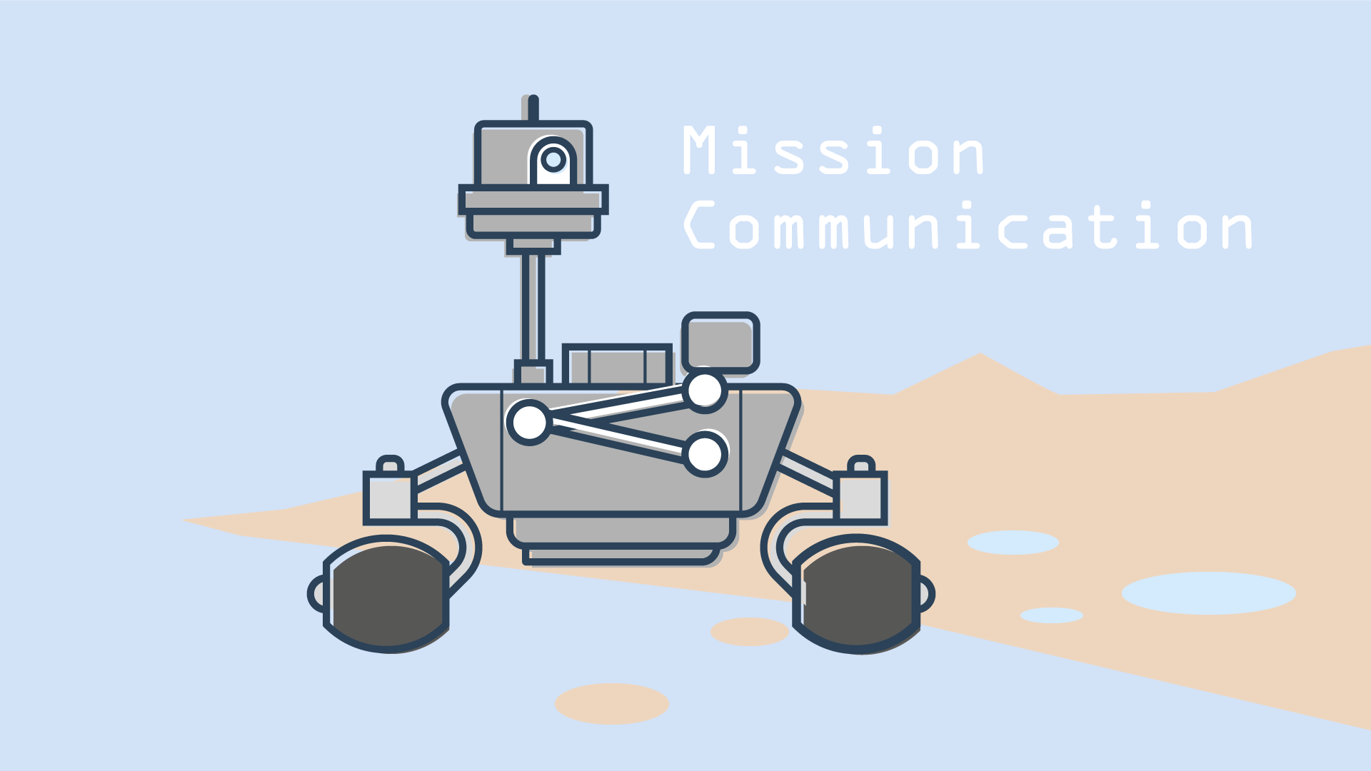 Icon of a Mars landing robot as a symbol for technology, expertise and flexibility, for which Orange Council stands.