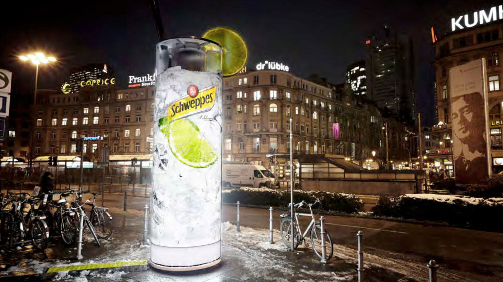 Ambient media campaign for the Schweppes brand. For a variety of advertising agencies, Andreas Geyer of ORANGE COUNCIL has developed integrated campaigns for SCHWEPPES, the NORWEGIAN SEAFOOD ASSOCIATION, FRITZ-KOLA, WEIHENSTEPHAN-Dairy Products and a variety of beer brands.